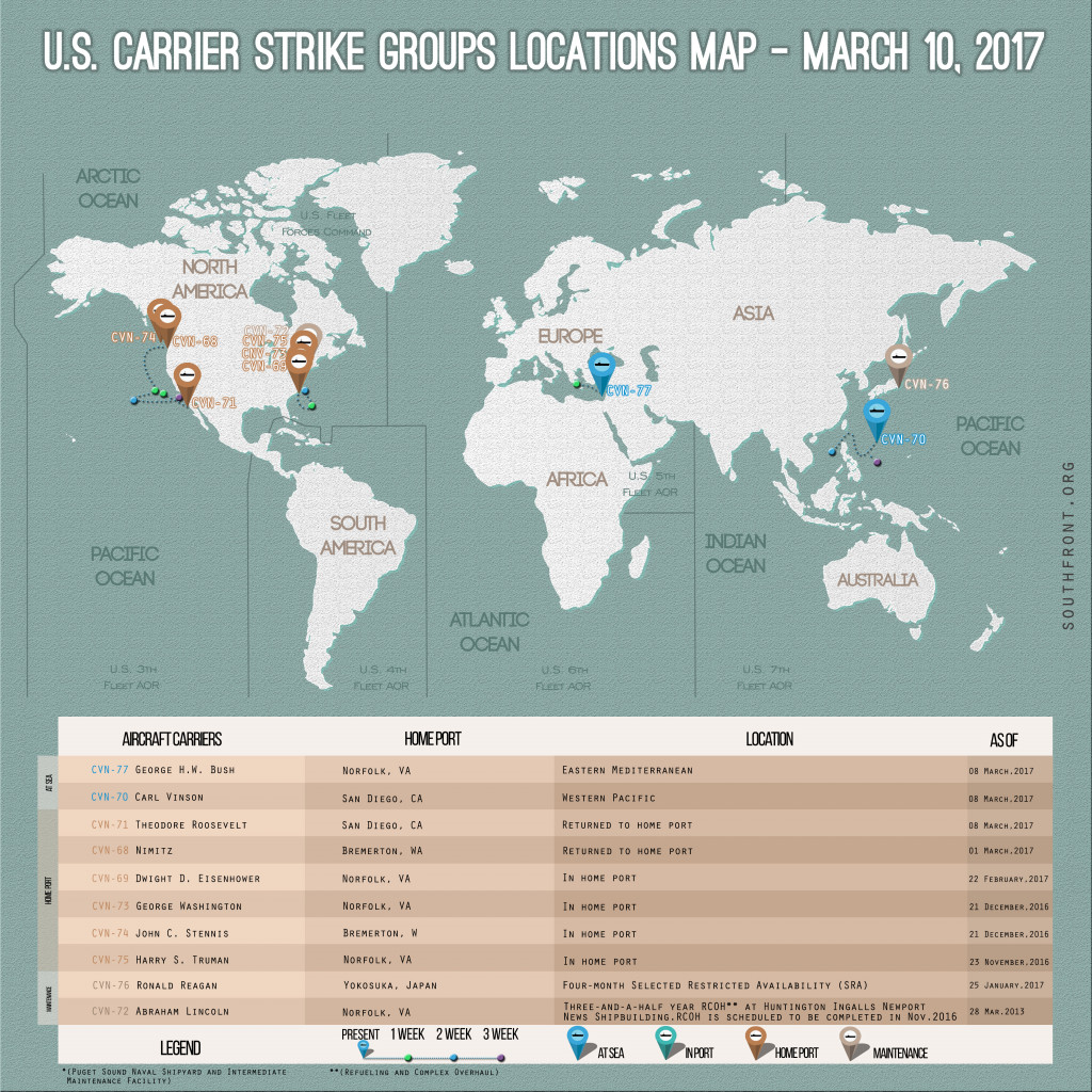 US Carrier Strike Groups Locations Map – March 10, 2017