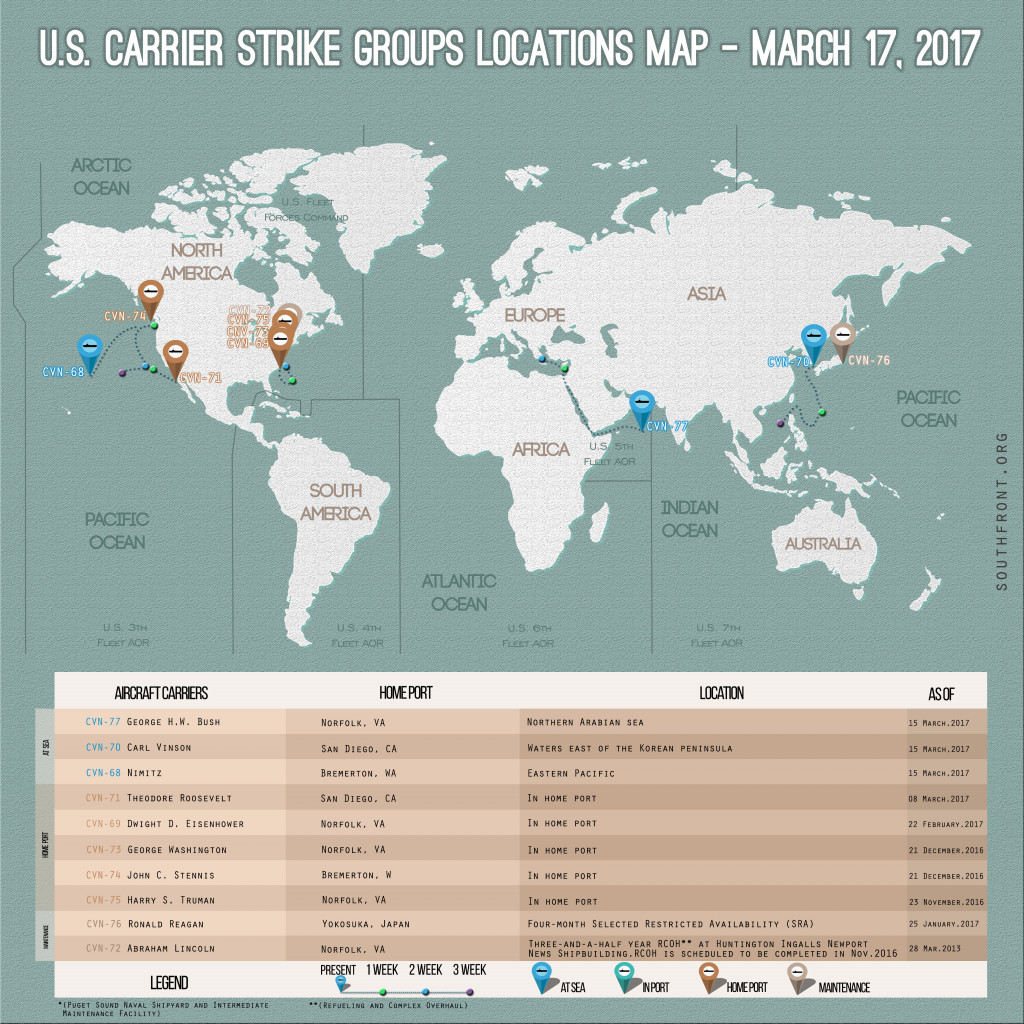 US Carrier Strike Groups Locations Map – March 17, 2017