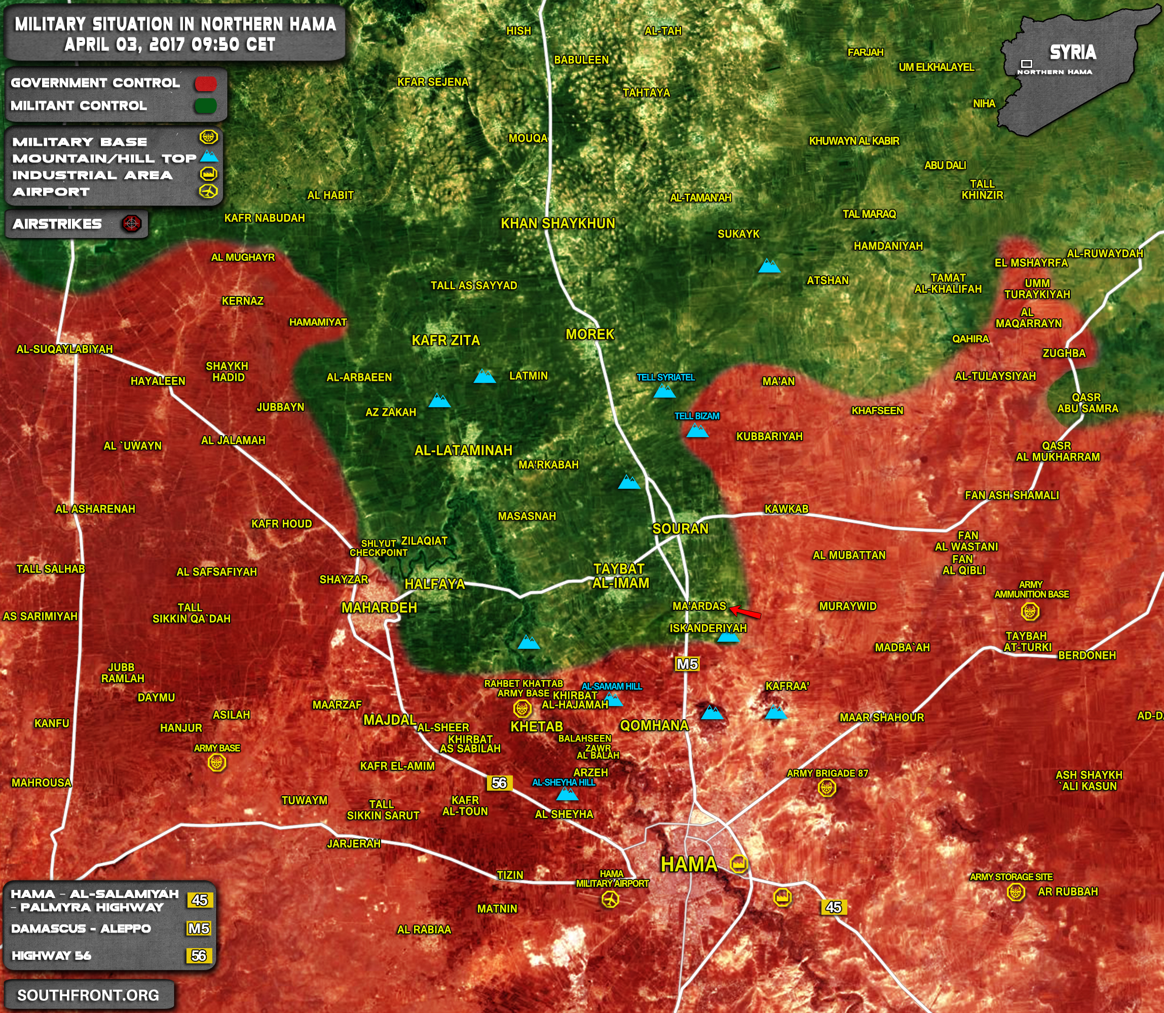 Syrian Army Entered Maardes In Northern Hama (Map)