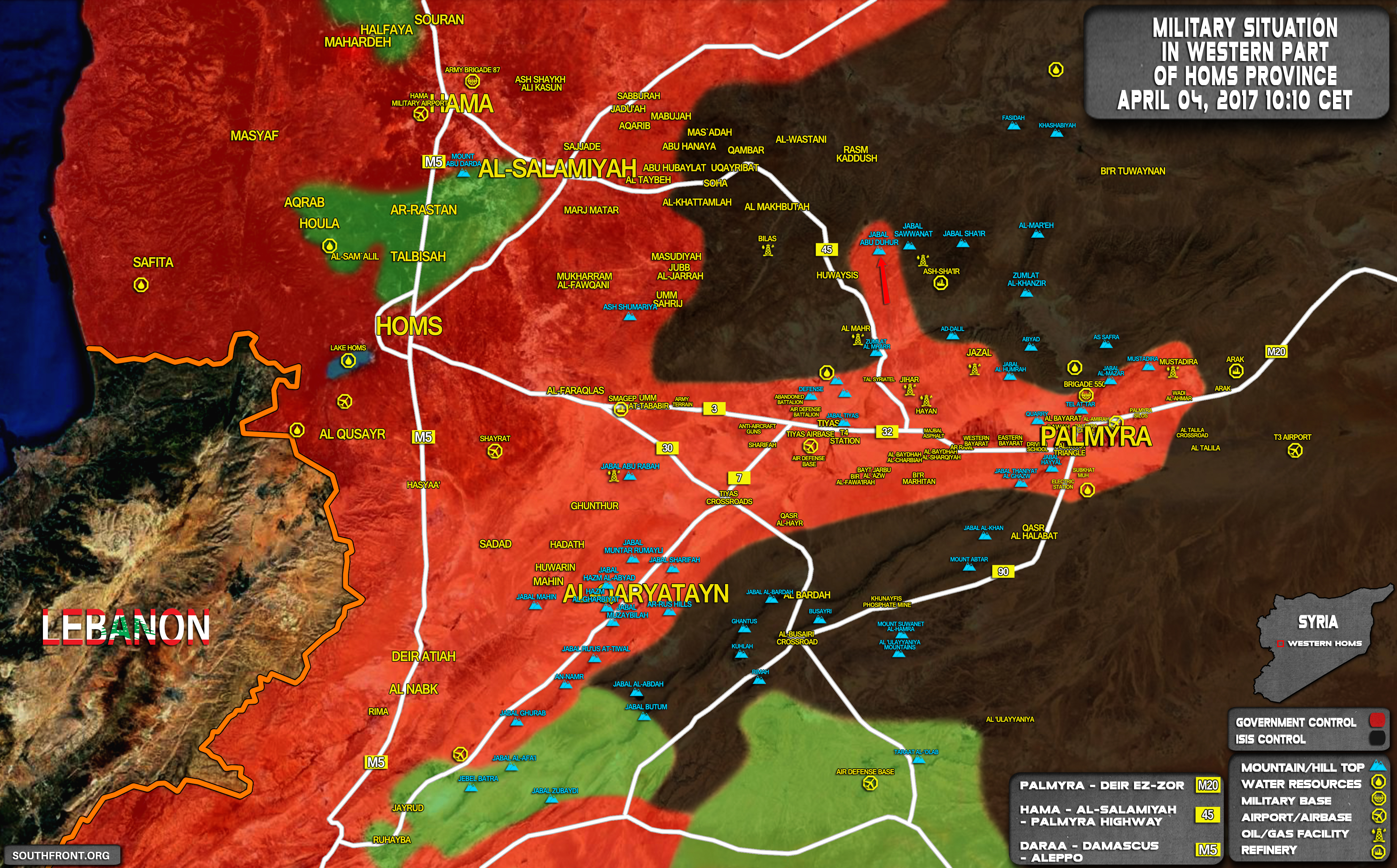 Government Forces Advancing Against ISIS Along Salamiyah-Palmyra Highway (Map)