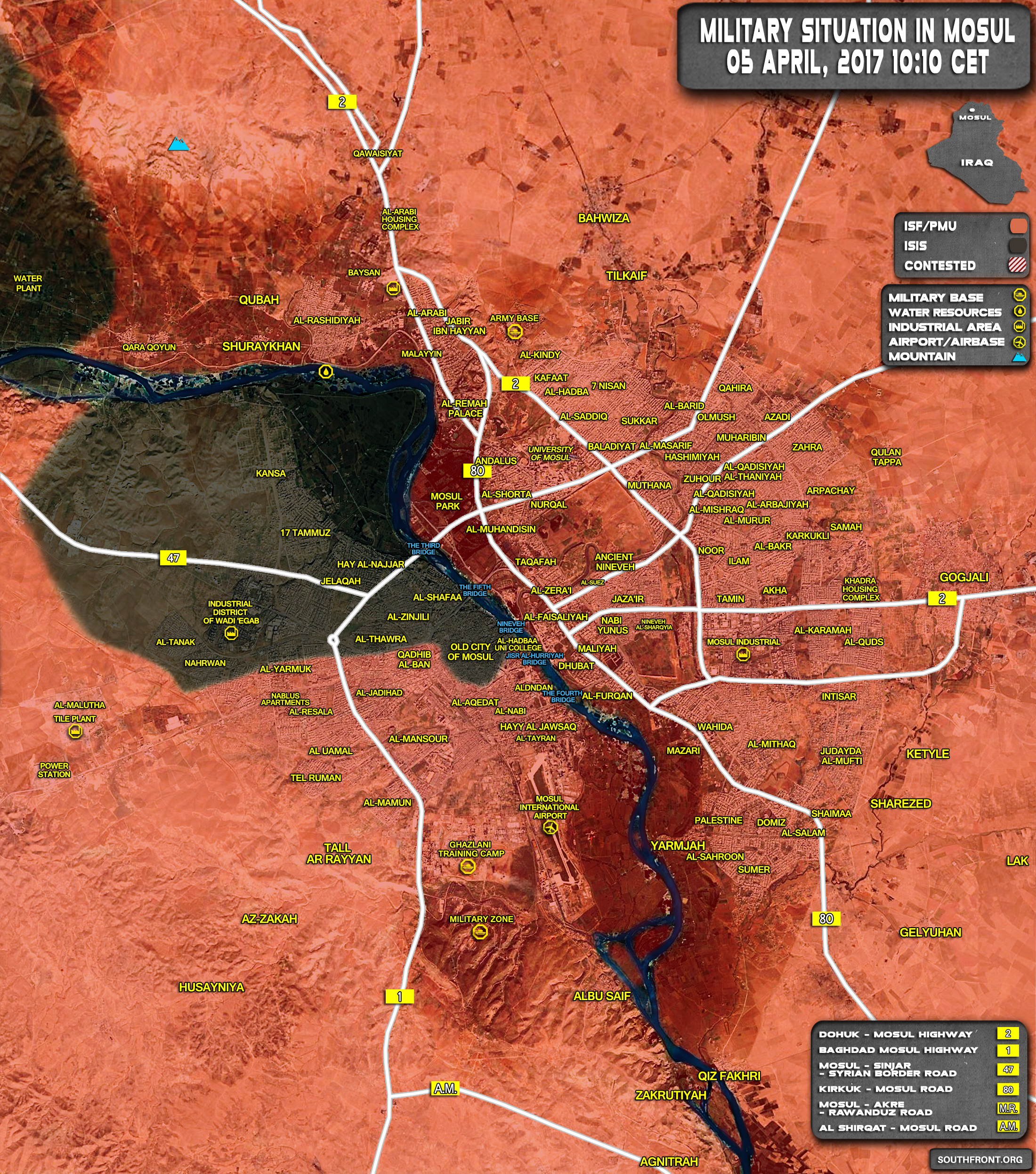 Military Situation In Iraqi City Of Mosul On April 5, 2017 (Map Update)
