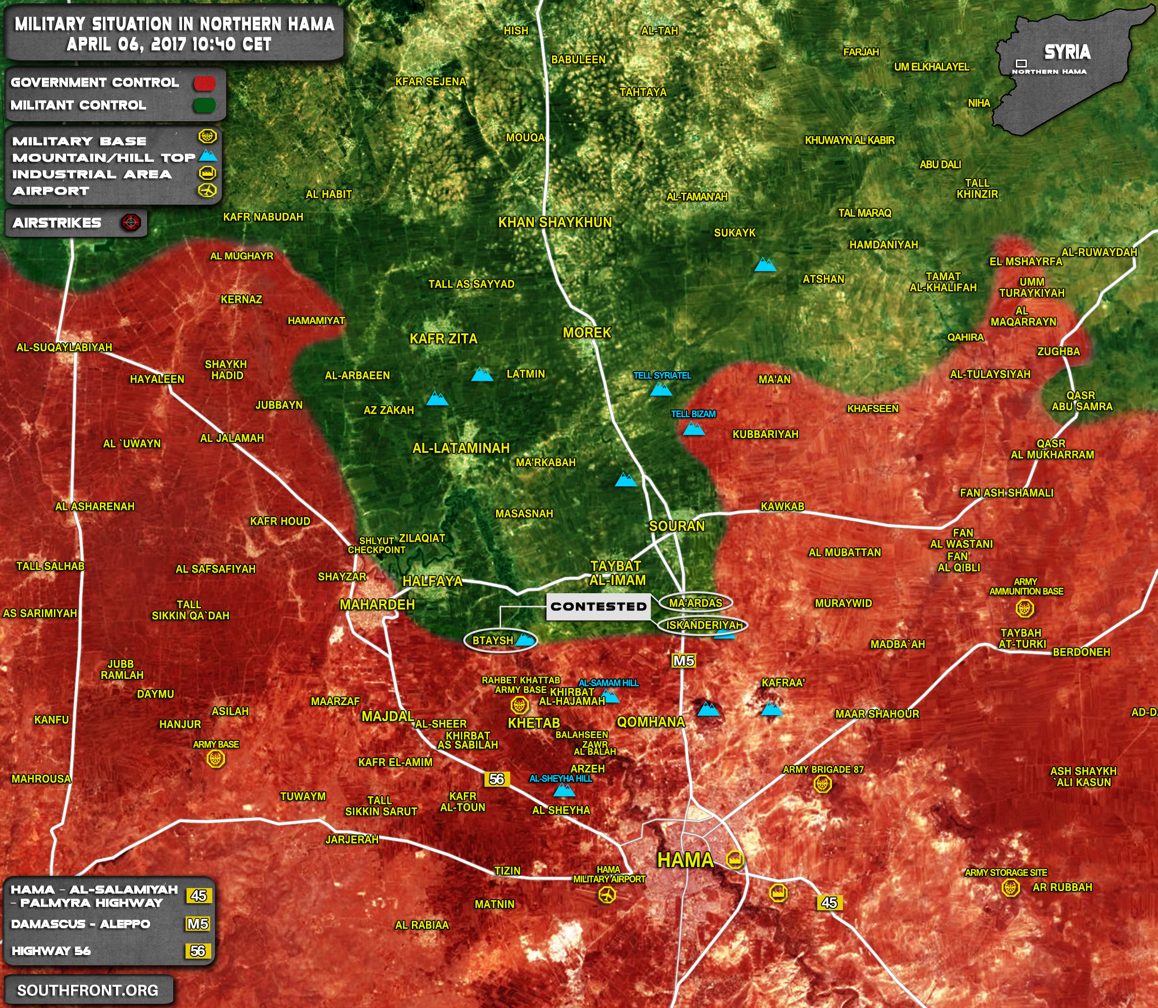 Overview Of Military Situation In Northern Hama On April 6, 2017