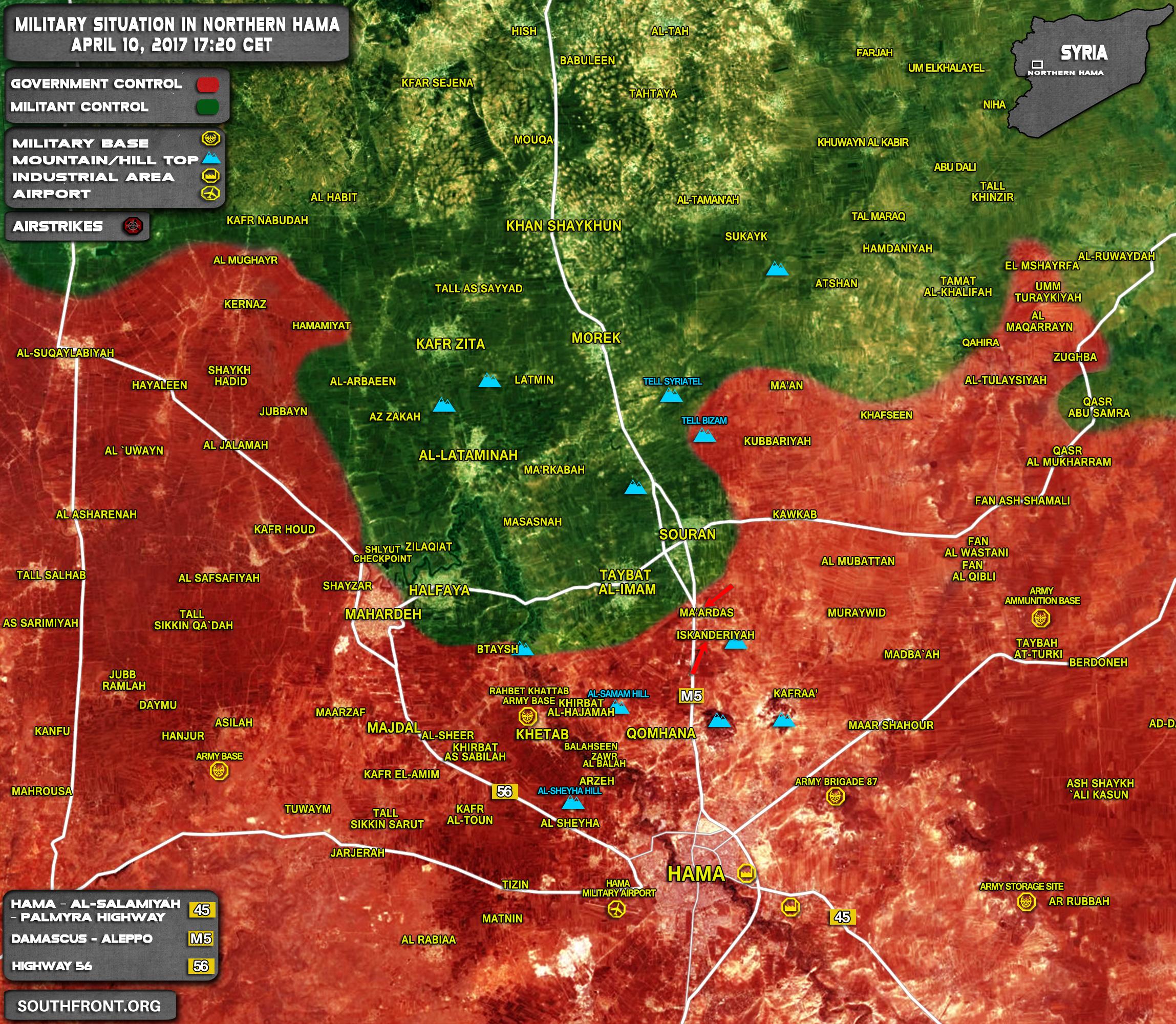 Northern Hama Battle: Militants Repelled Govt Advance On Halfaya. Syrian Army Takes Back Inskandariyah And Maardas