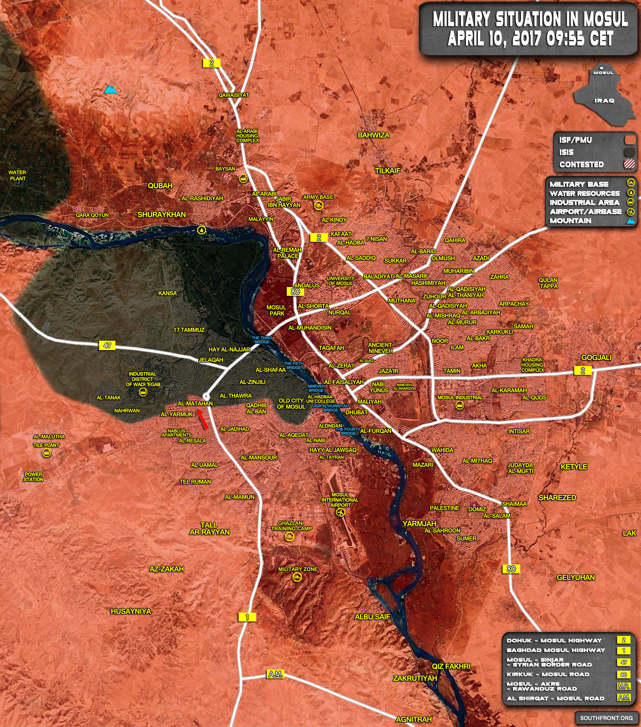Military Situation In Mosul City, Iraq On April 10, 2017 (Map Update)
