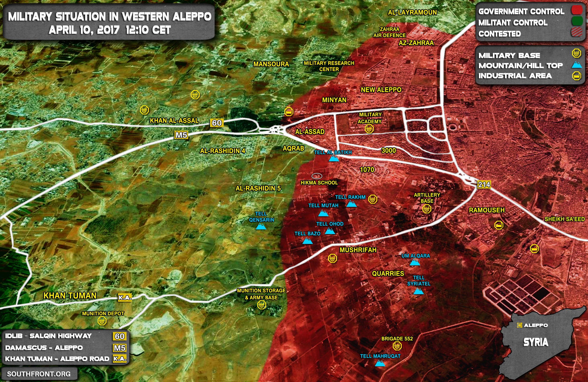 Republican Guard And Liwa al-Quds Launch Offensive West Of Aleppo City
