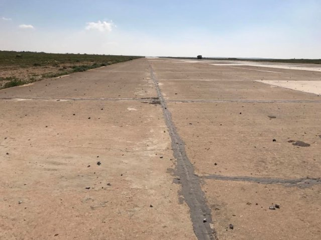 The runway after the missile strike