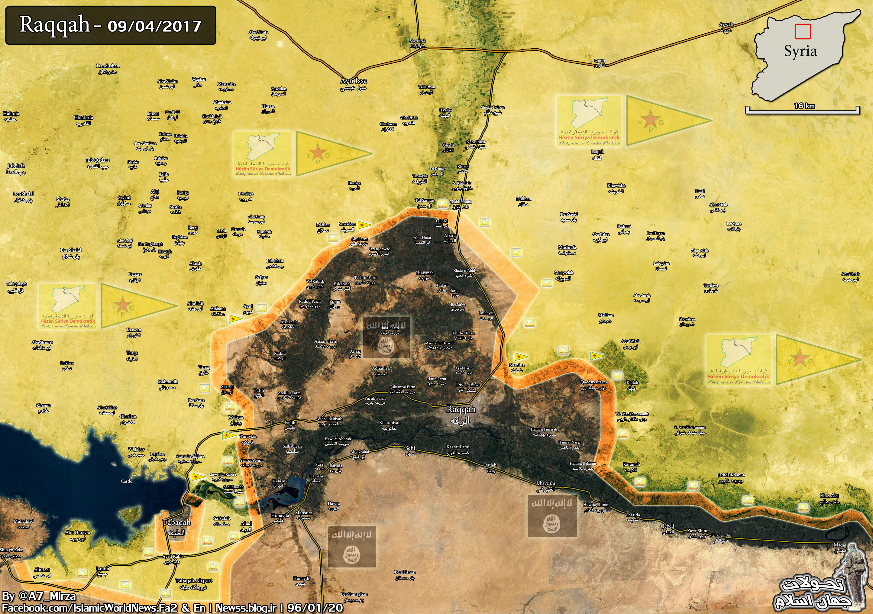Military Situation In Area Of Raqqah On April 9, 2017 (Syria Map Update)