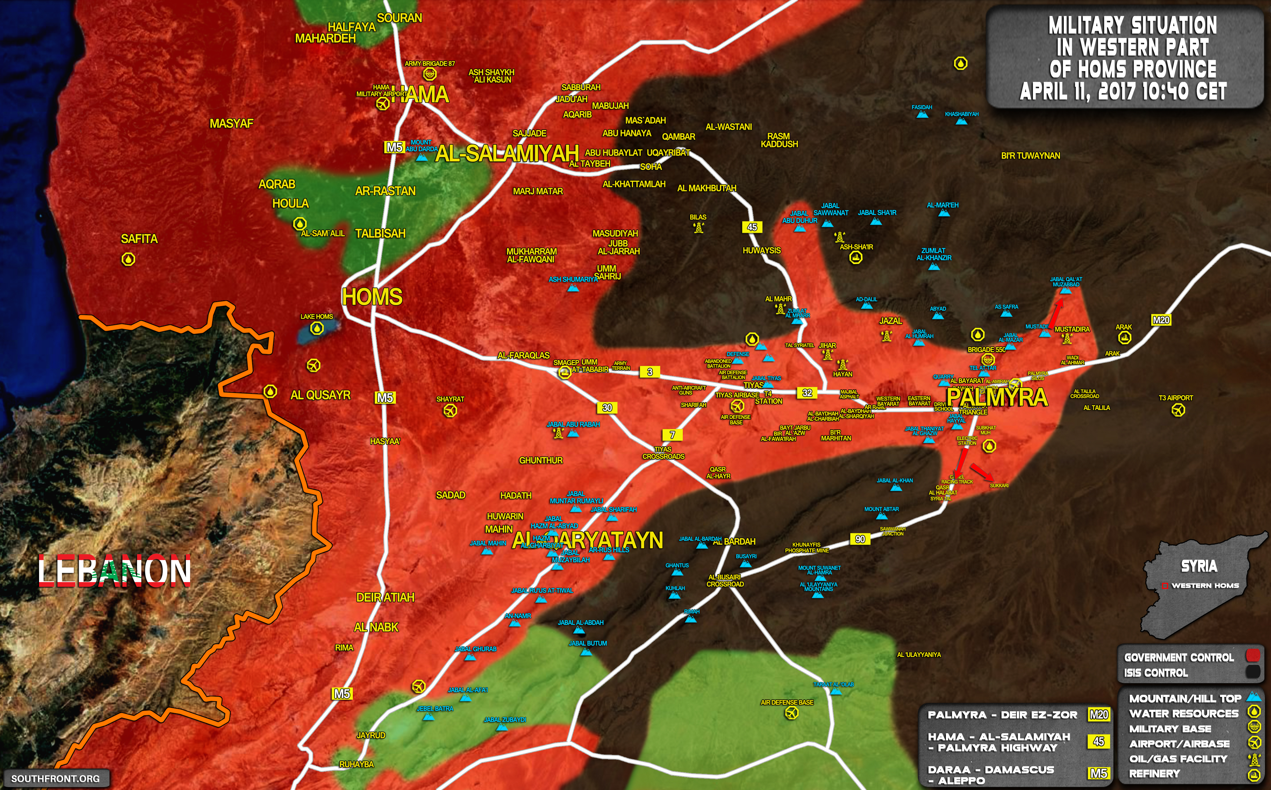 Government Forces Retake Multiple Points From ISIS In Palmyra Countryside (Map)