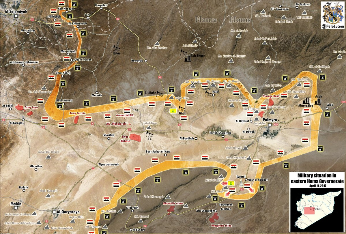 Military Situation In Area Of Palmyra On April 11, 2017