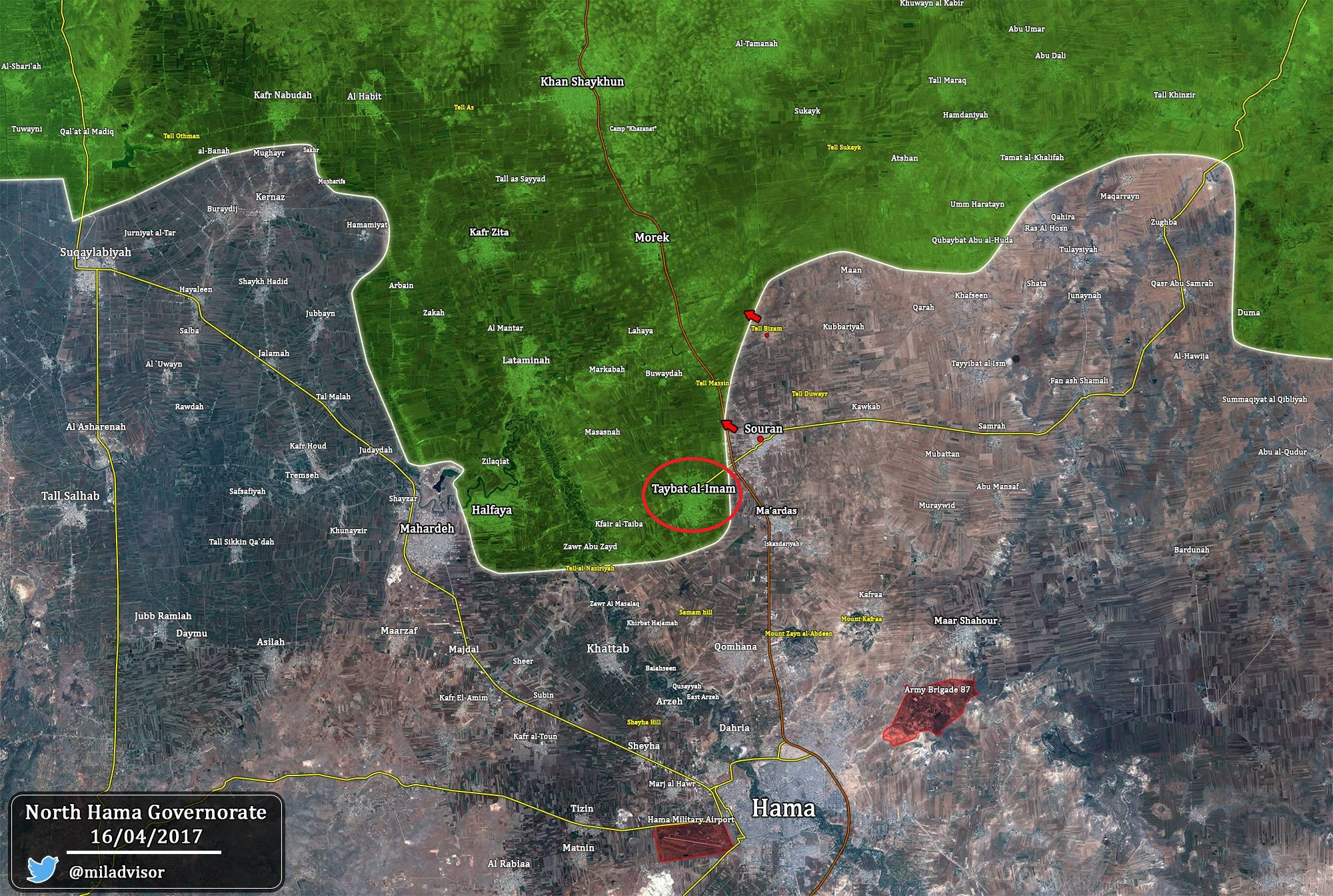 Syrian Army Artillery And Air Force Striking Taybat Al-Imam In Northern Hama