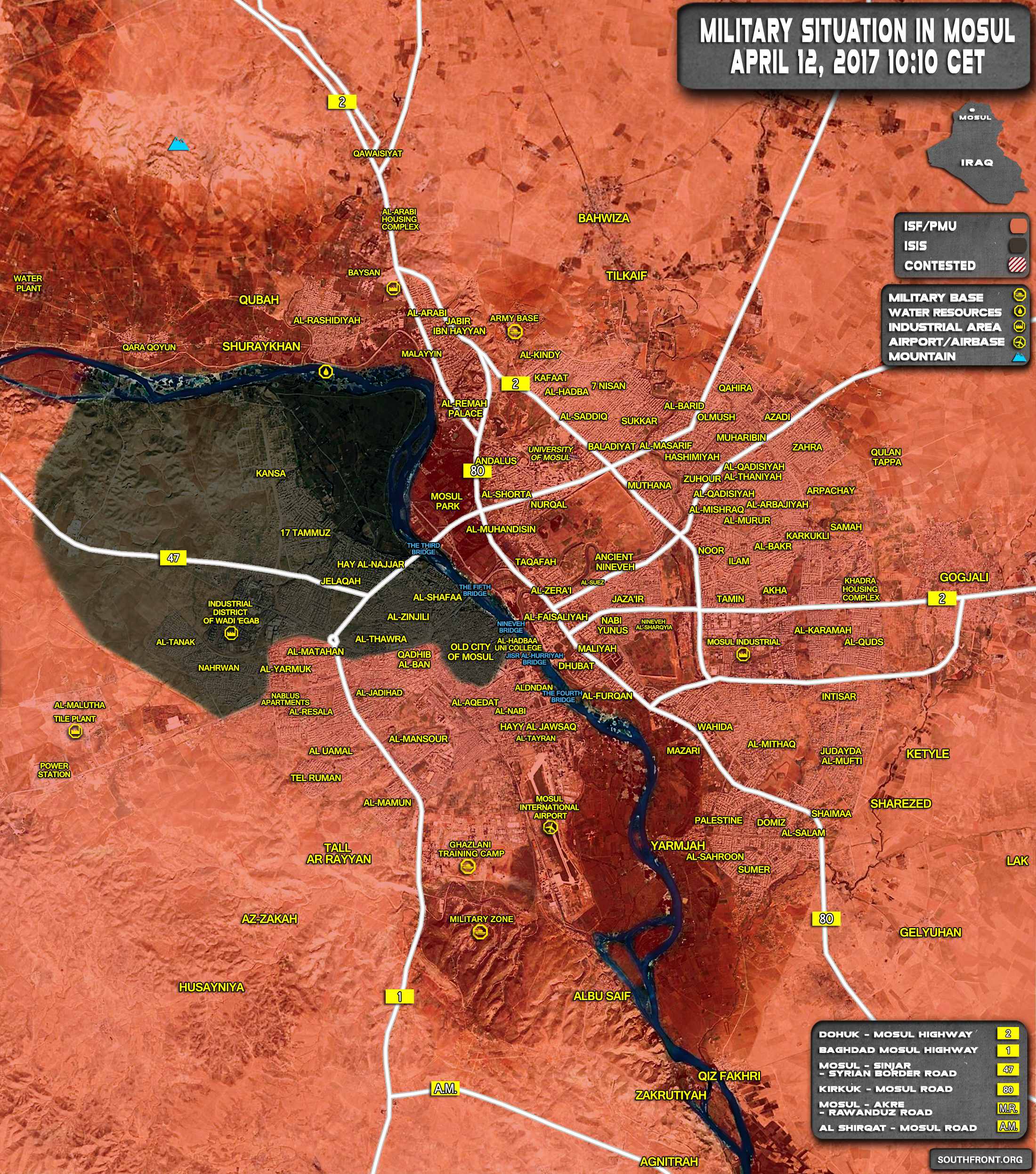 Military Situation In Iraqi City Of Mosul On April 12, 2017 (Map Update)