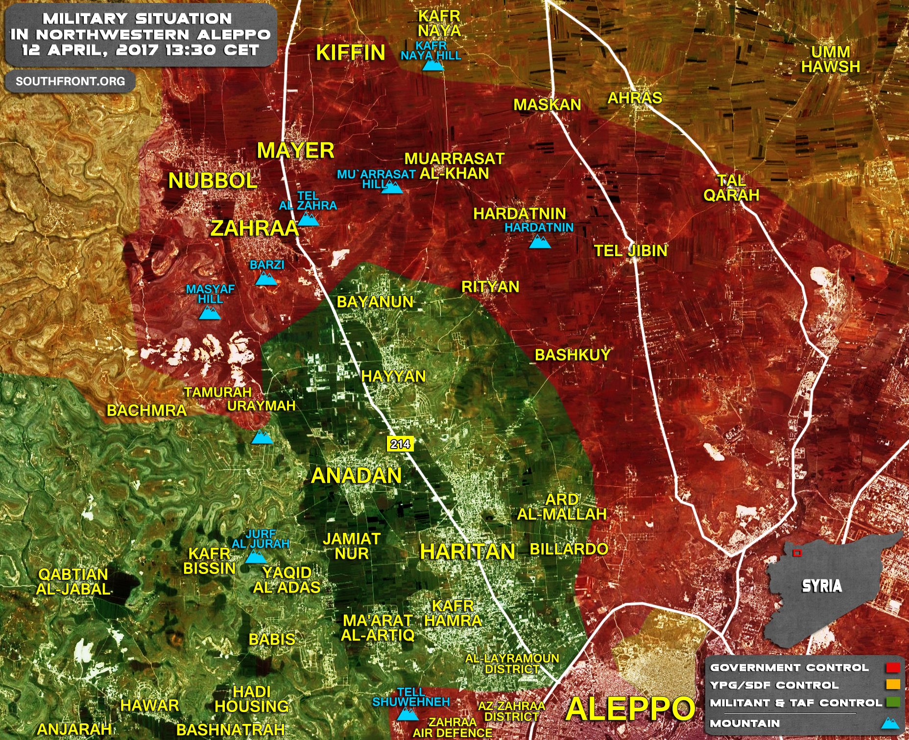 Military Situation In Northwestern Aleppo Countryside On April 12, 2017 (Map Update)
