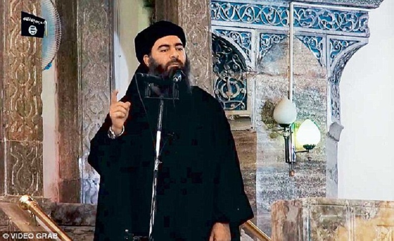 Abu Bakr al-Baghdadi speaking in a mosque in Mosul after the group took over the city in June 2014. File photo