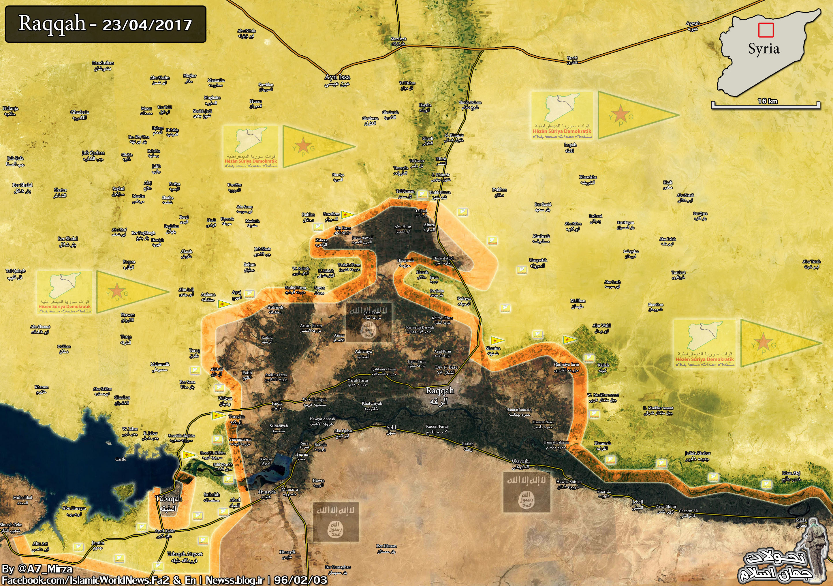 Military Situation In Raqqah Countryside On April 23, 2017 (Map Update)