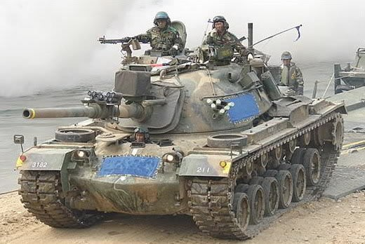 M48A5K2 (the K1 is fitted with side skirts) during a river crossing training operation. Although an older tank design, the updated M48A5K tanks are very well suited to the mountainous terrain that makes up 70% of the Korean peninsula, and they afford a good balance of mobility, firepower and armor protection when considering the majority of tanks that they are likely to face in combat.
