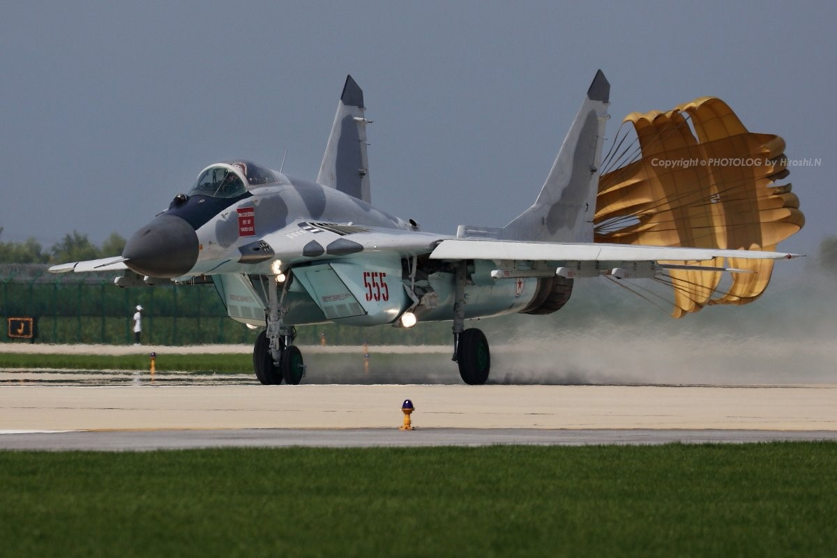 North Korean Mig-29 landing after a flight demonstration conducted at the airshow held at Kalma International Airport in Wonsan, North Korea in September of 2016.