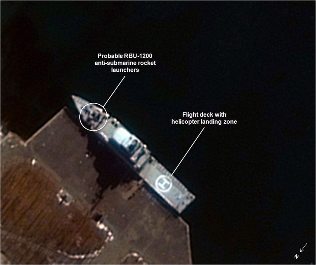 Satellite imagery of an FFH docked at Najin on the North Korean coast adjacent to the Sea of Japan. Little is known about this class of vessel, although images such as the above first became available at the end of 2013.