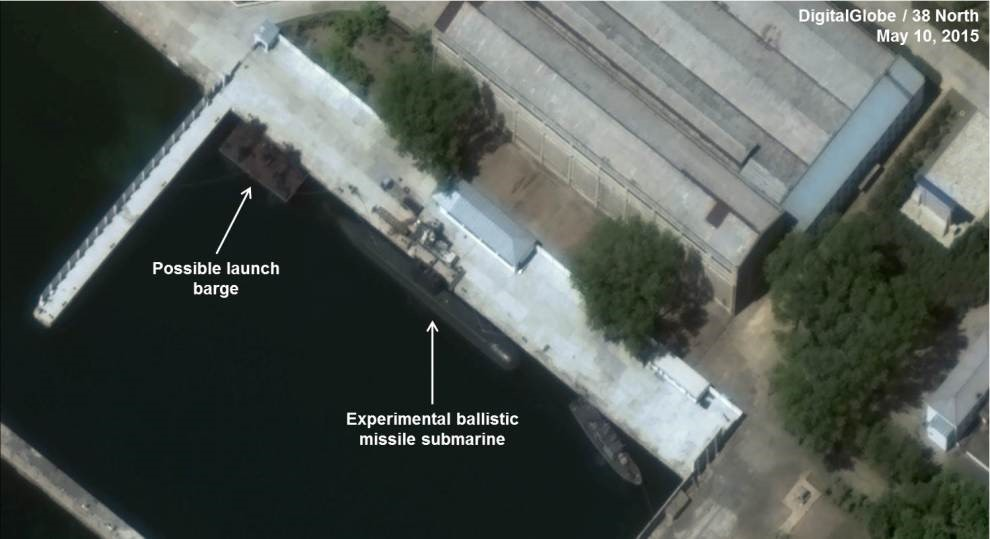 Satellite imagery of the Sinpo South Shipyard SLBM test site in North Korea. Note the submersible launch barge and what appears to be the first Sinpo Class (Gorae) SSB. Whether this submarine is capable of being armed with an SLBM is very much in doubt.