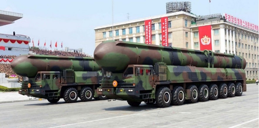 Two Road-mobile ICBMs displayed as part of the April 15th, 2017 parade marking the 105th birthday of the North's founder Kim Il-sung. It is not known whether these large mobile launchers are mock-ups or house the KN-08 ICBM.
