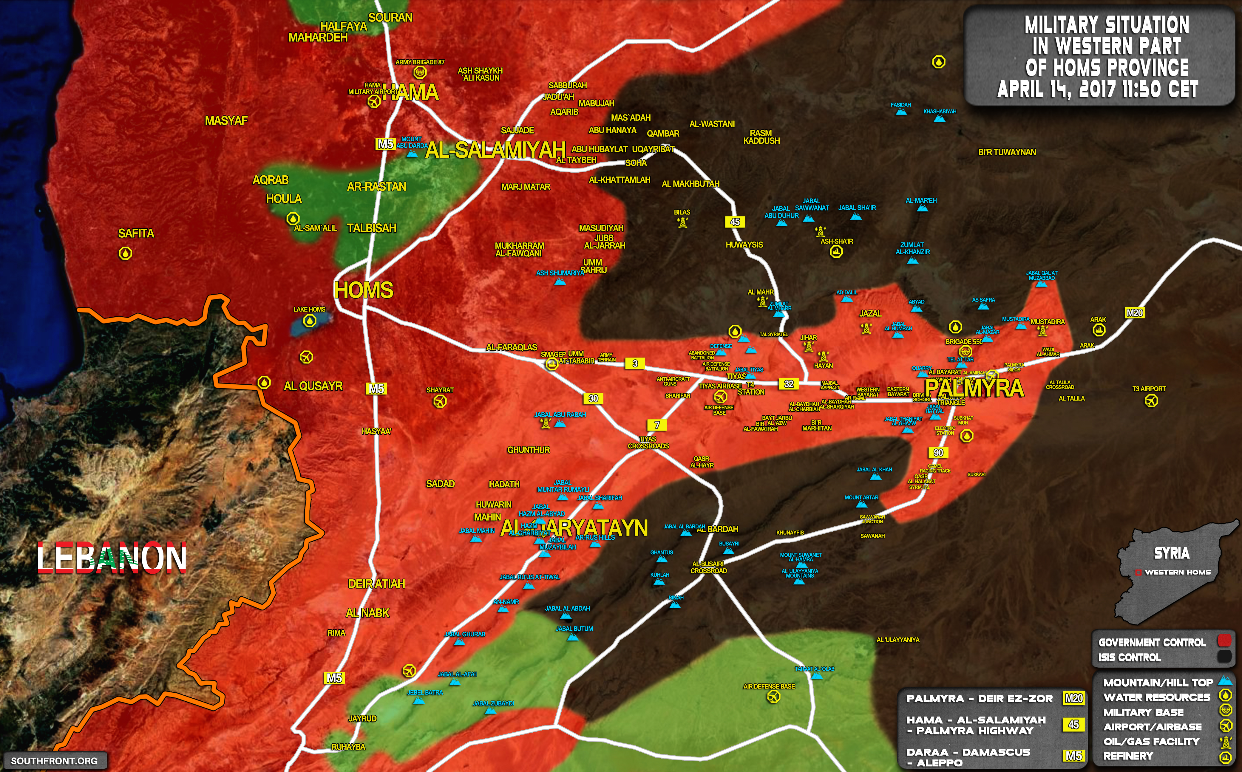 Military Situation In Area Of Palmyra On April 14, 2017 (Map Update)