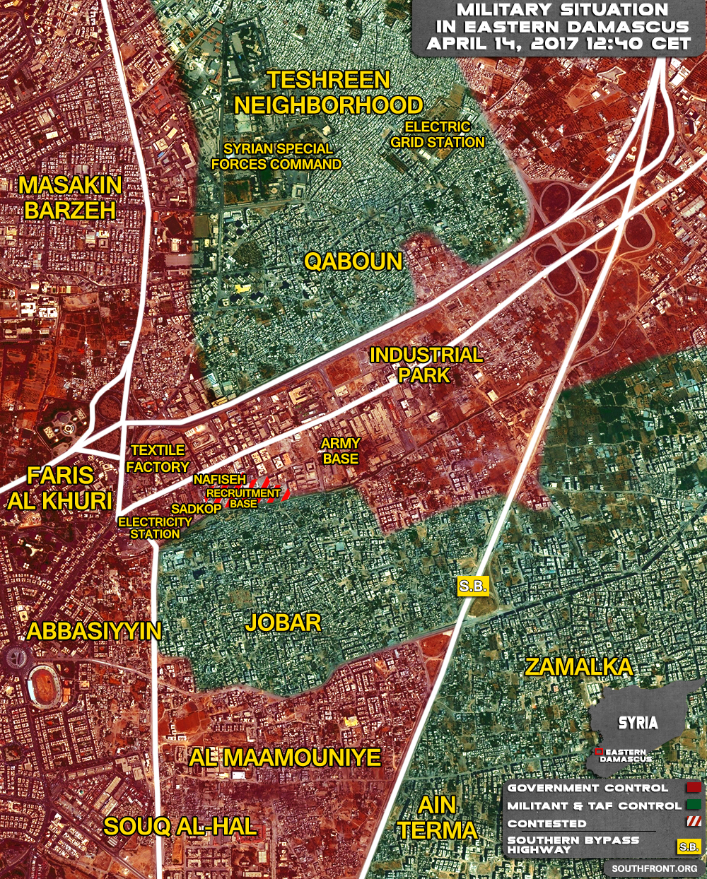 Military Situation In Jobar Area In Eastern Damascus On April 14, 2017 (Map Update)