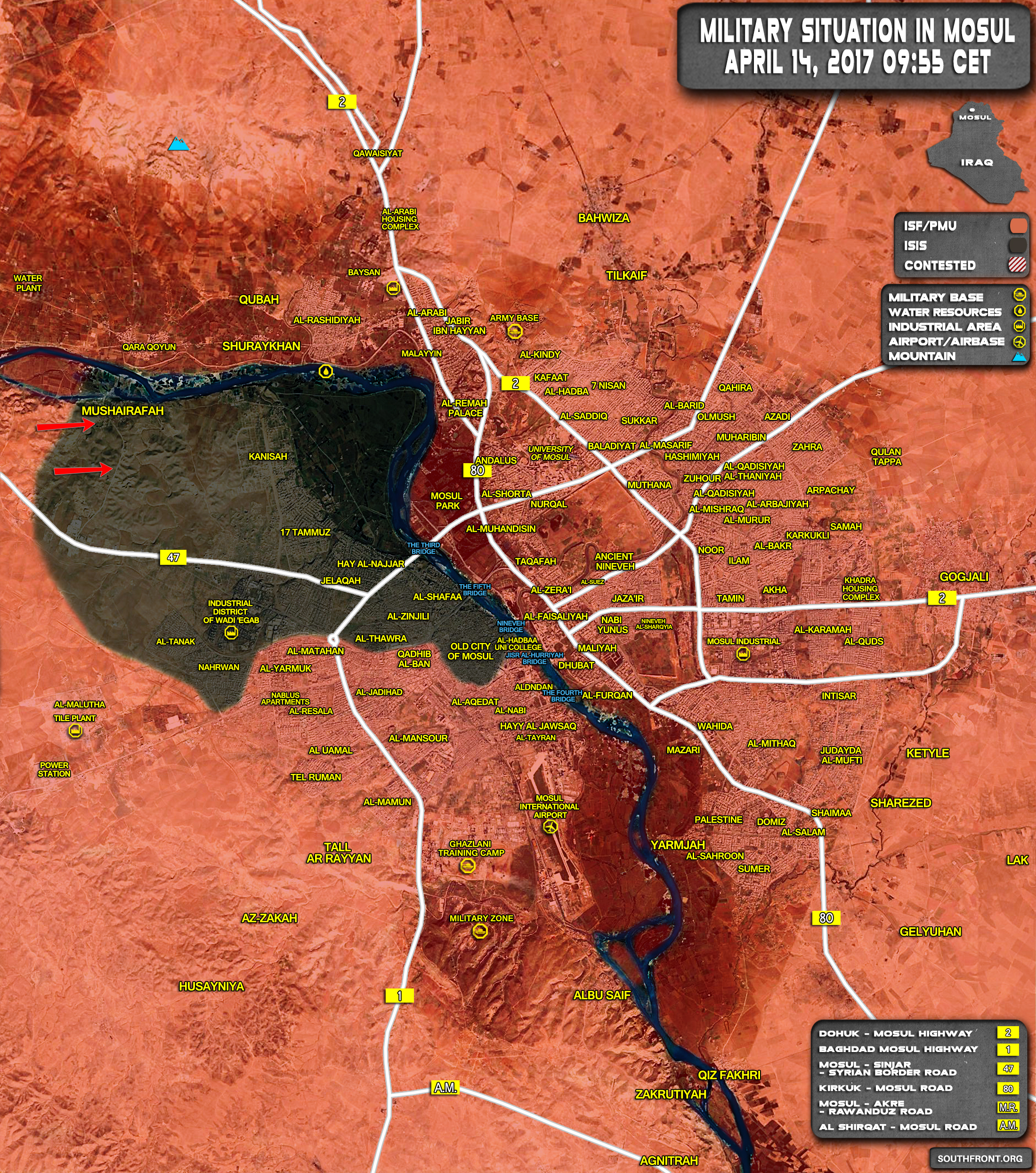 Military Situation In Iraqi City Of Mosul On April 14, 2017 (Map Update)