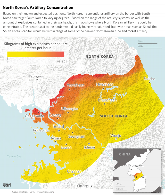 The map shows the estimated range and theoretical concentration of explosives from a massive DPRK bombardment of the ROK.