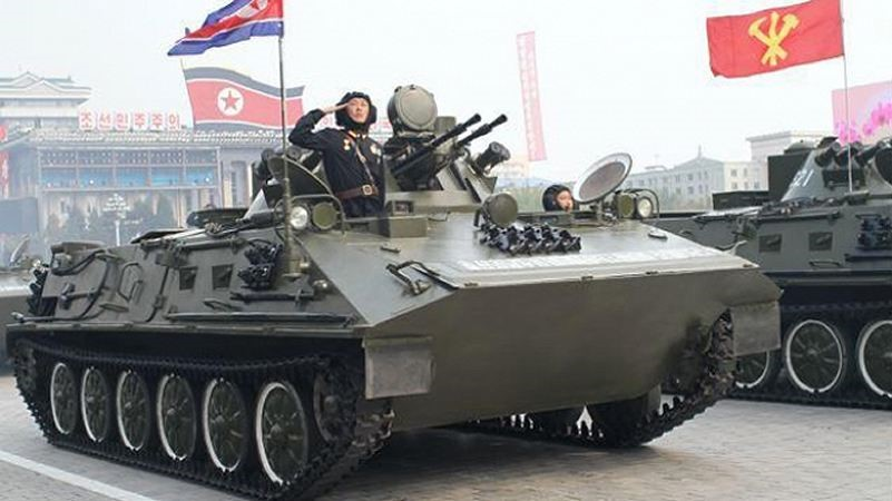 North Korean Chunma-D APC. This is an indigenous design based on both the Russian BTR (turret) and the Chinese Type-63.