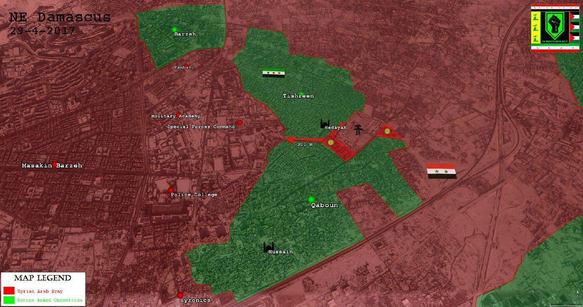 Syrian Army In Just 600m Away From Dividing Militant-held Qaboun Pocket Into Two Separate Parts