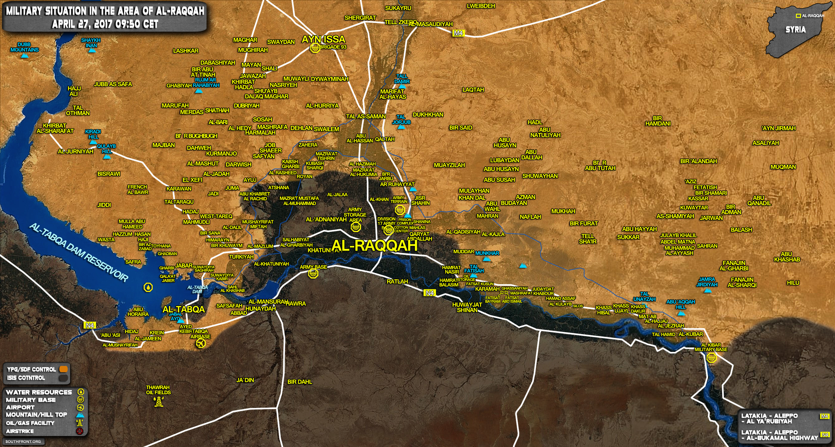 Military Situation In Raqqah Countryside On April 27, 2017 (Syria Map Update)