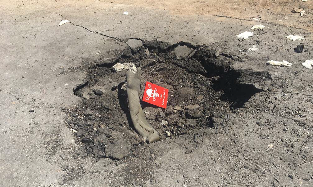 Another photo of the crater containing the alleged canister that supposedly disbursed sarin in Khan Sheikdoun, Syria, on April 4, 2017.