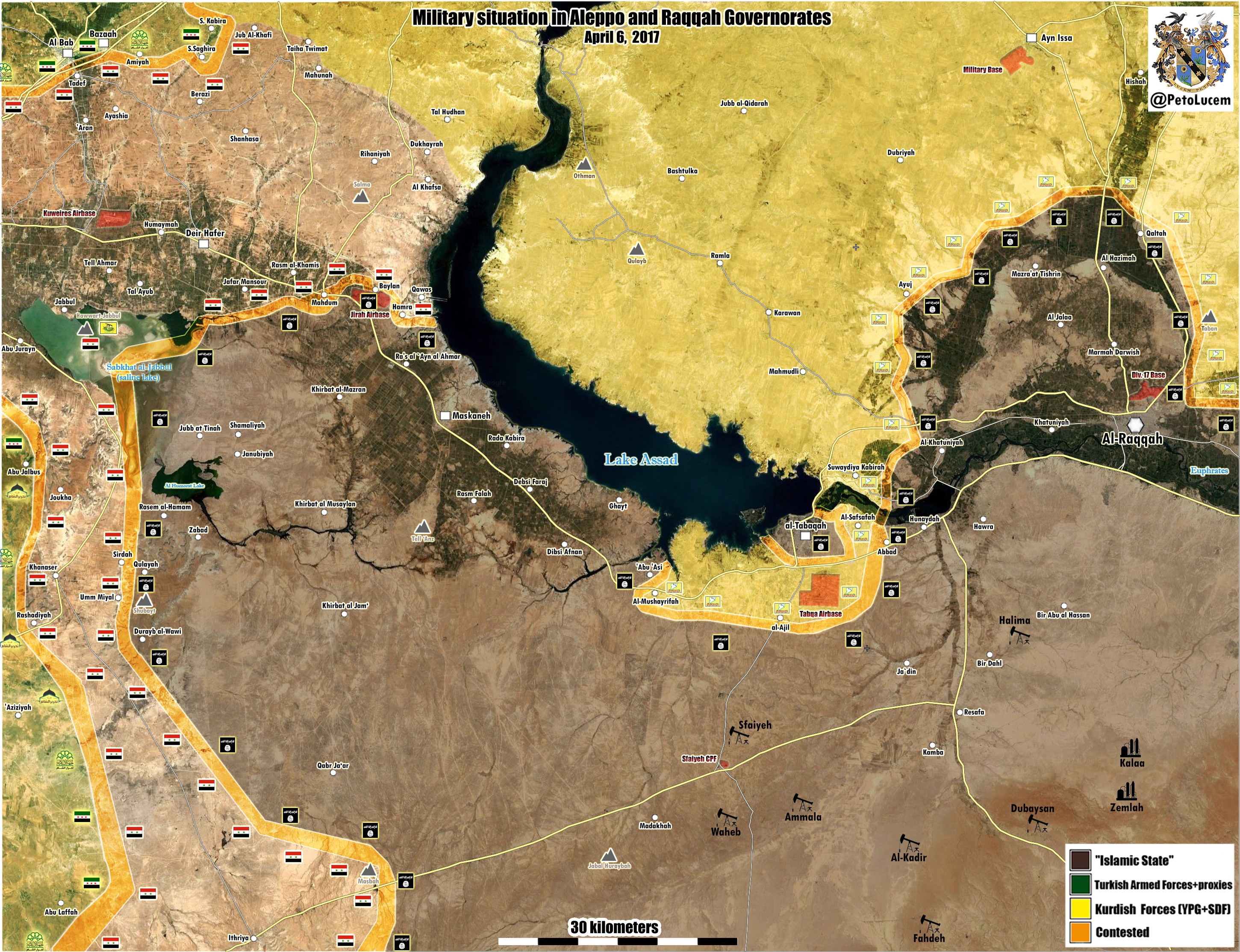 MIitary Situation In Raqqah-Aleppo Countryside On April 6, 2017 (Map Update)