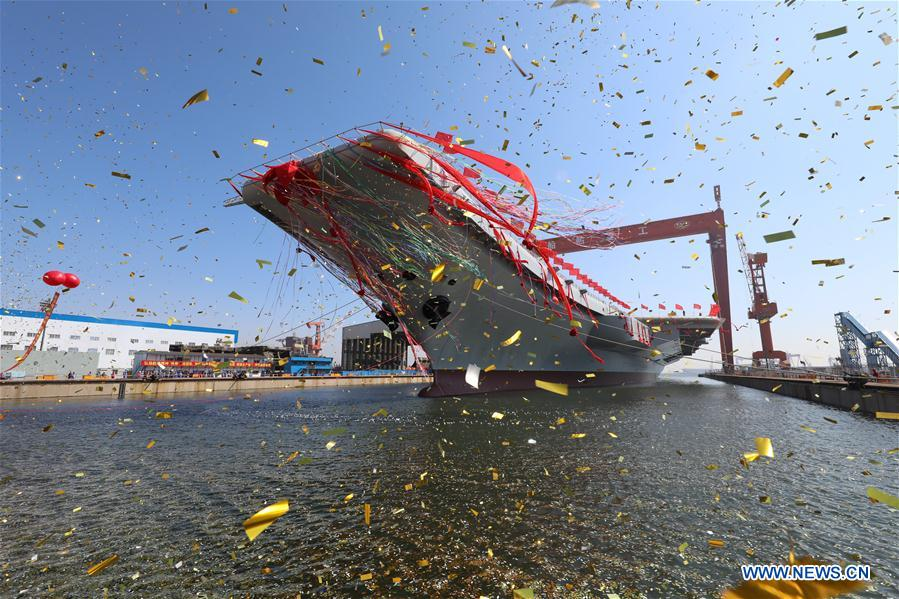 China Launched Its Newly Built Aircraft-Carrier (Photos, Videos)