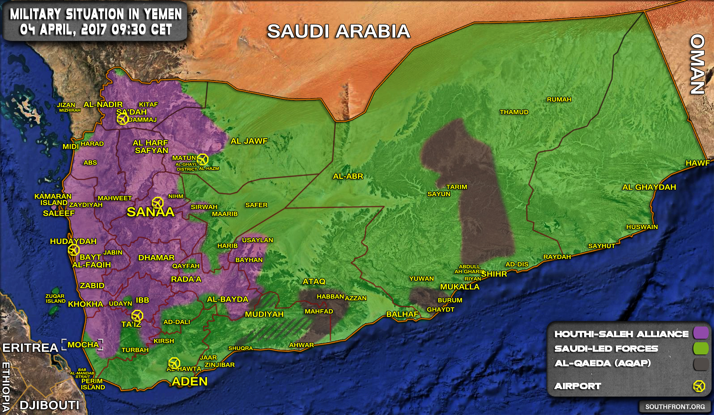 Military Situation In Yemen On April 4, 2017 (Map Update)