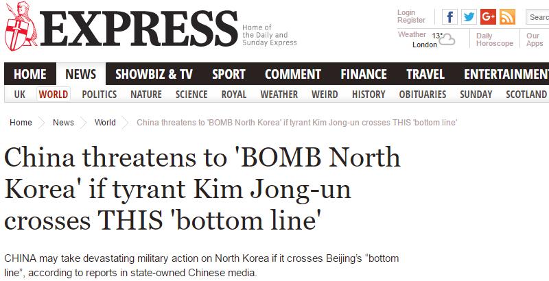 FAKE NEWS: China Threatens to Bomb North Korea's Nuclear Facilities
