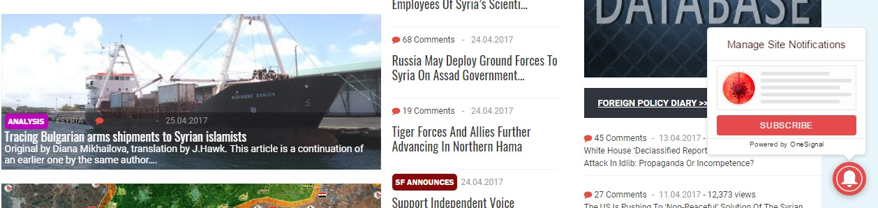 Southfront.org Added Browser Notifications Option