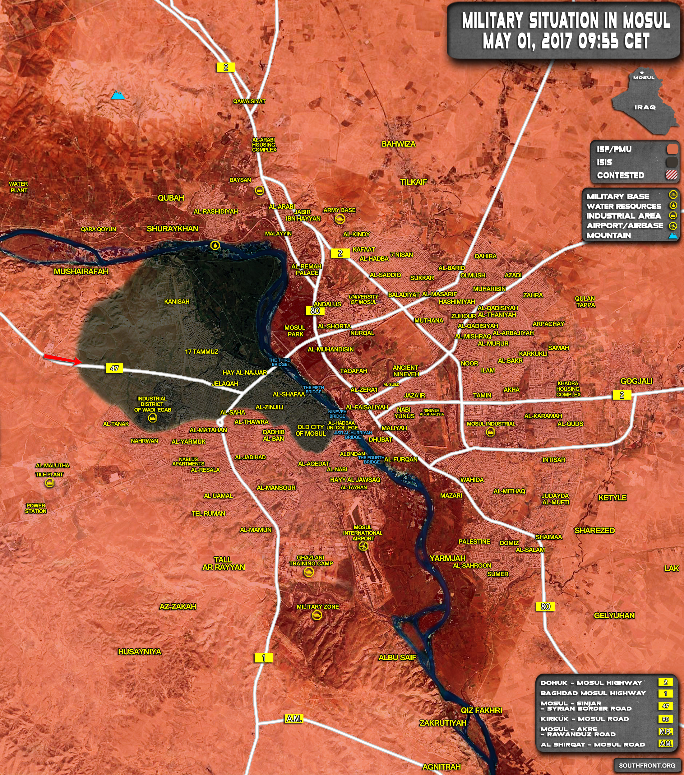 Military Situation In Iraqi City Of Mosul On May 1, 2017 (Map Update)