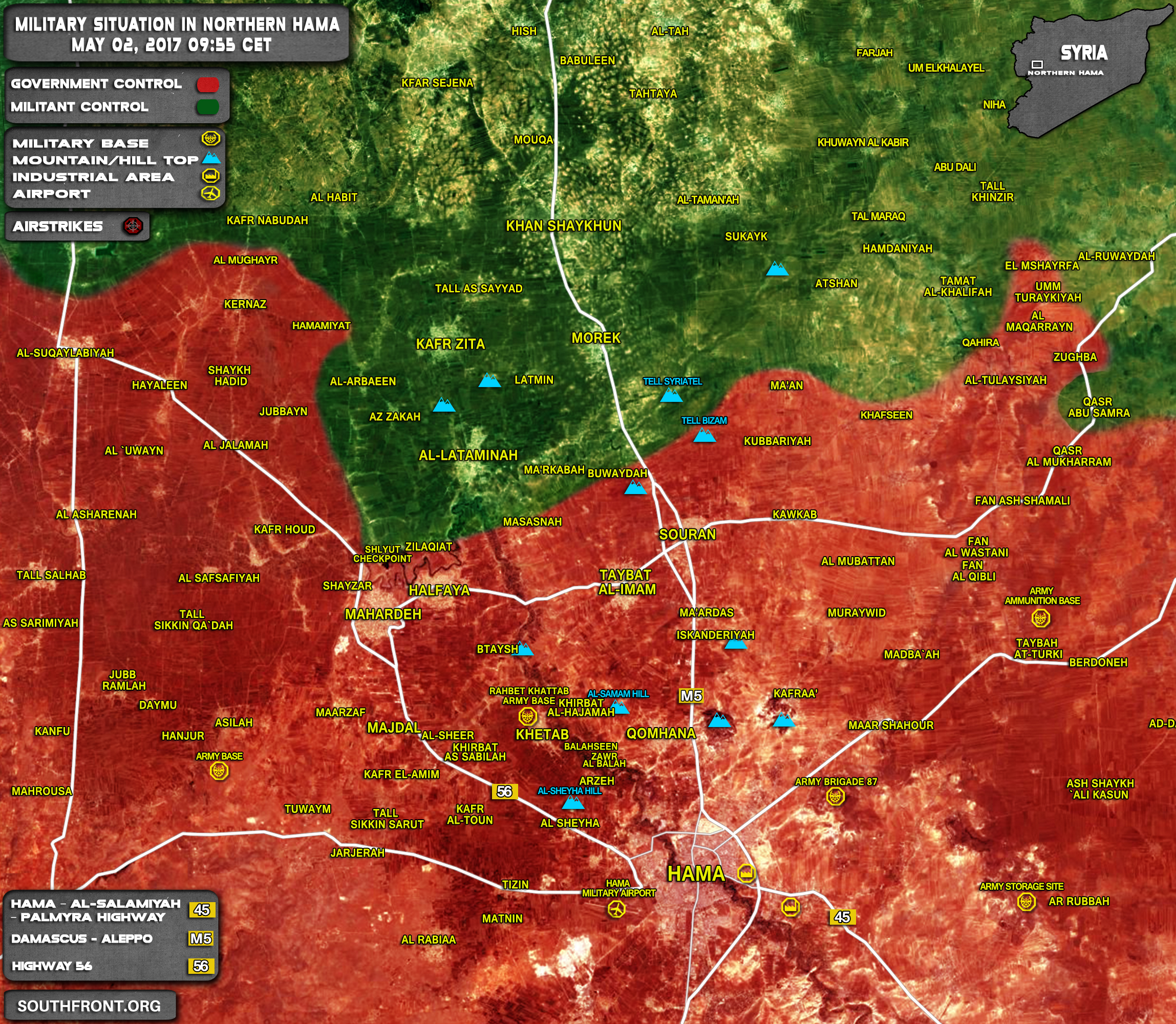 Military Situation In Northern Hama On May 2, 2017 (Map Update)