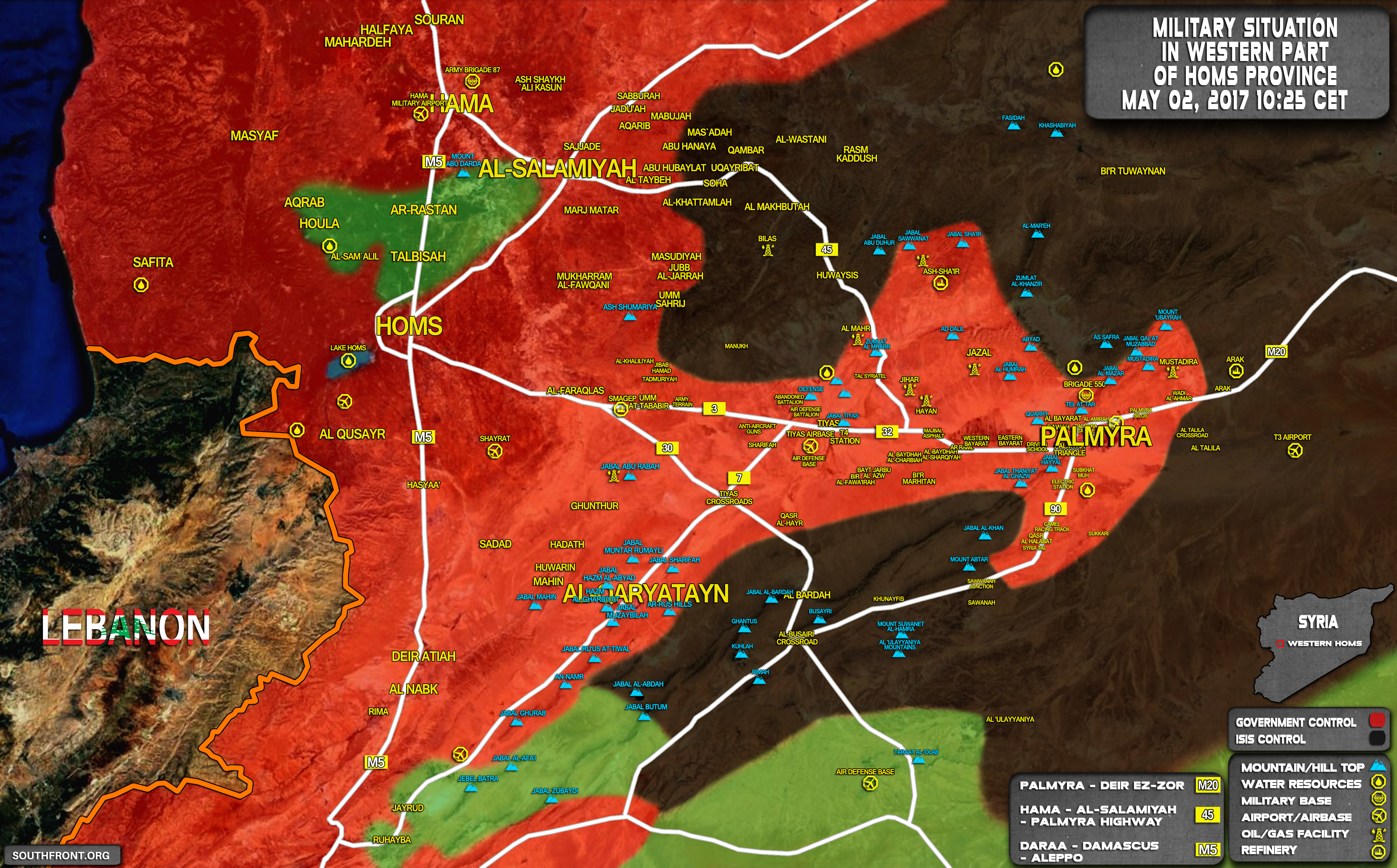 Military Situation In Palmyra Countryside On May 2, 2017 (Map Update)