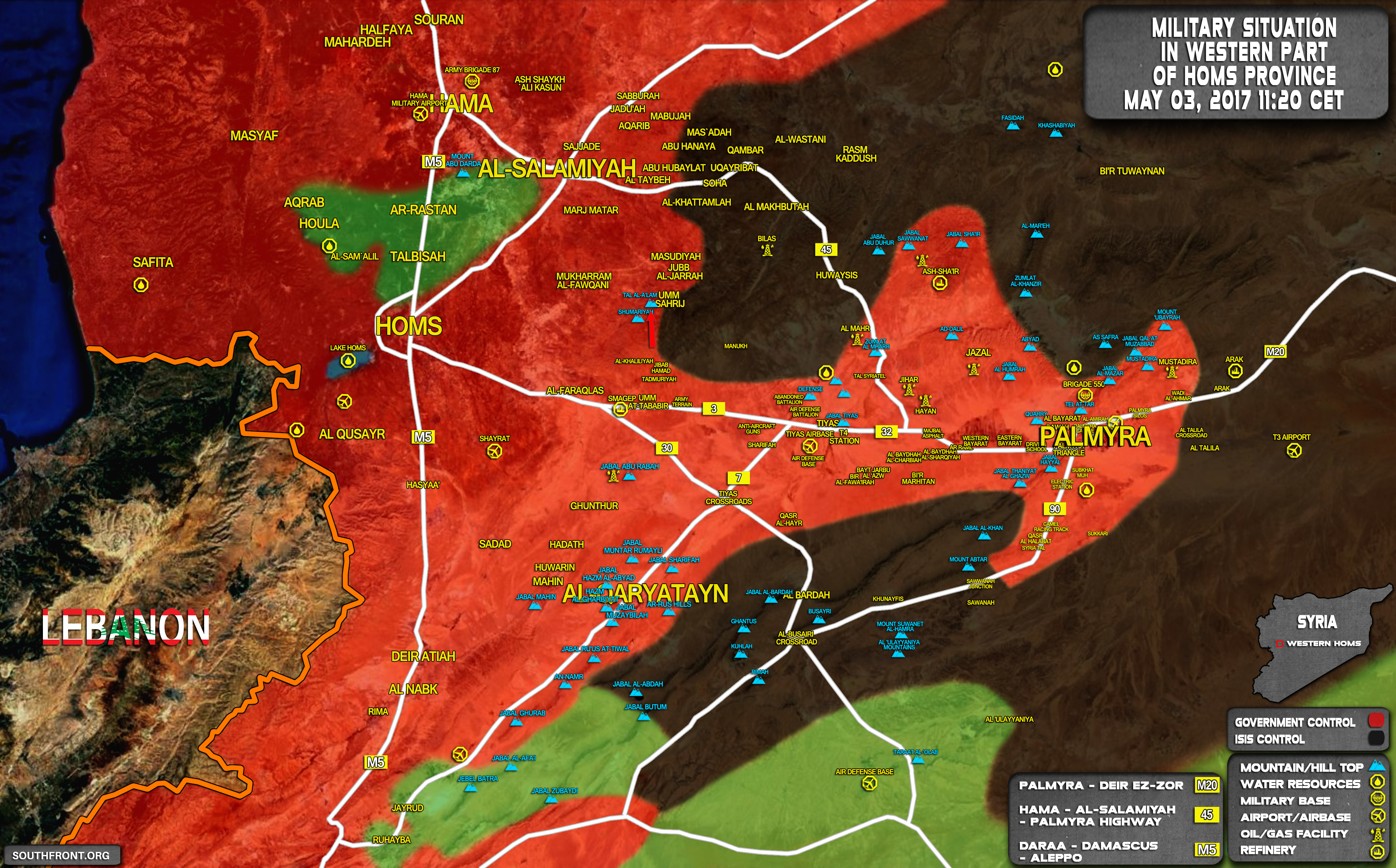Military Situation In Countryside Of Palmyra On May 3, 2017 (Map Update)