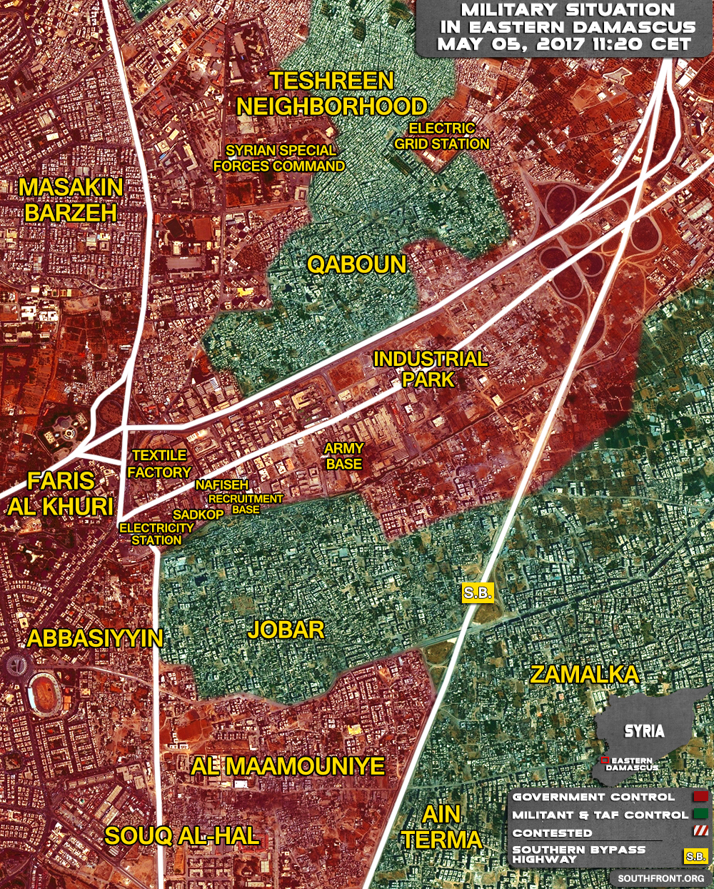 Military Situation In Area Of Qaboun In Eastern Damascus On May 5, 2017 (Map Update)