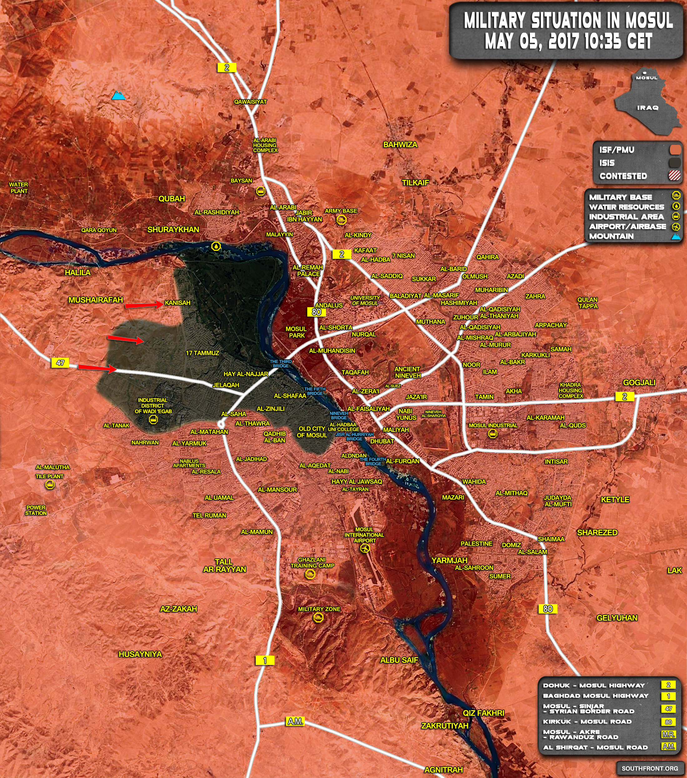 Military Situation In Iraqi City Of Mosul On May 5, 2017 (Map Update)