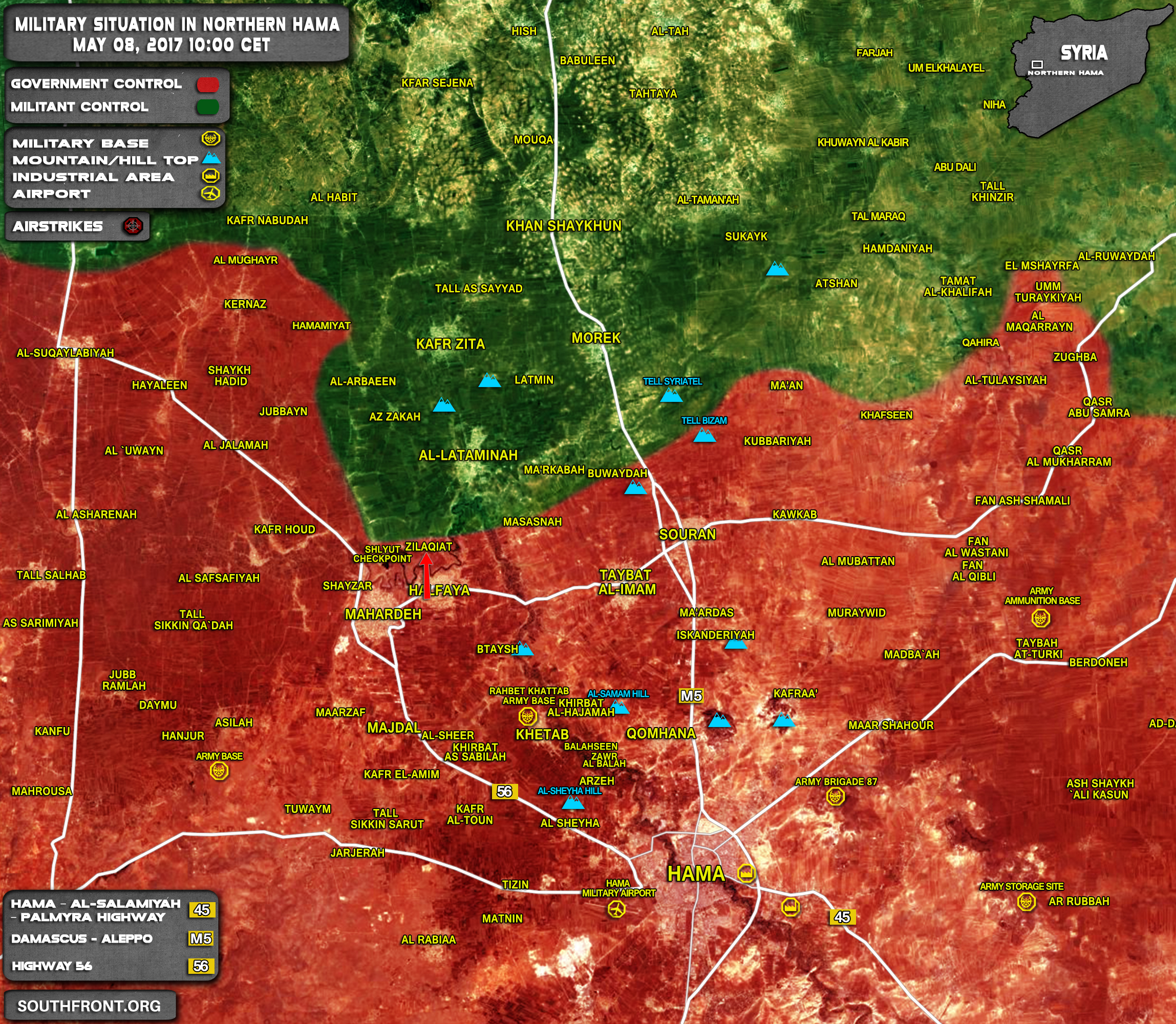 Military Situation In Northern Hama On May 8, 2017 (Map Update)