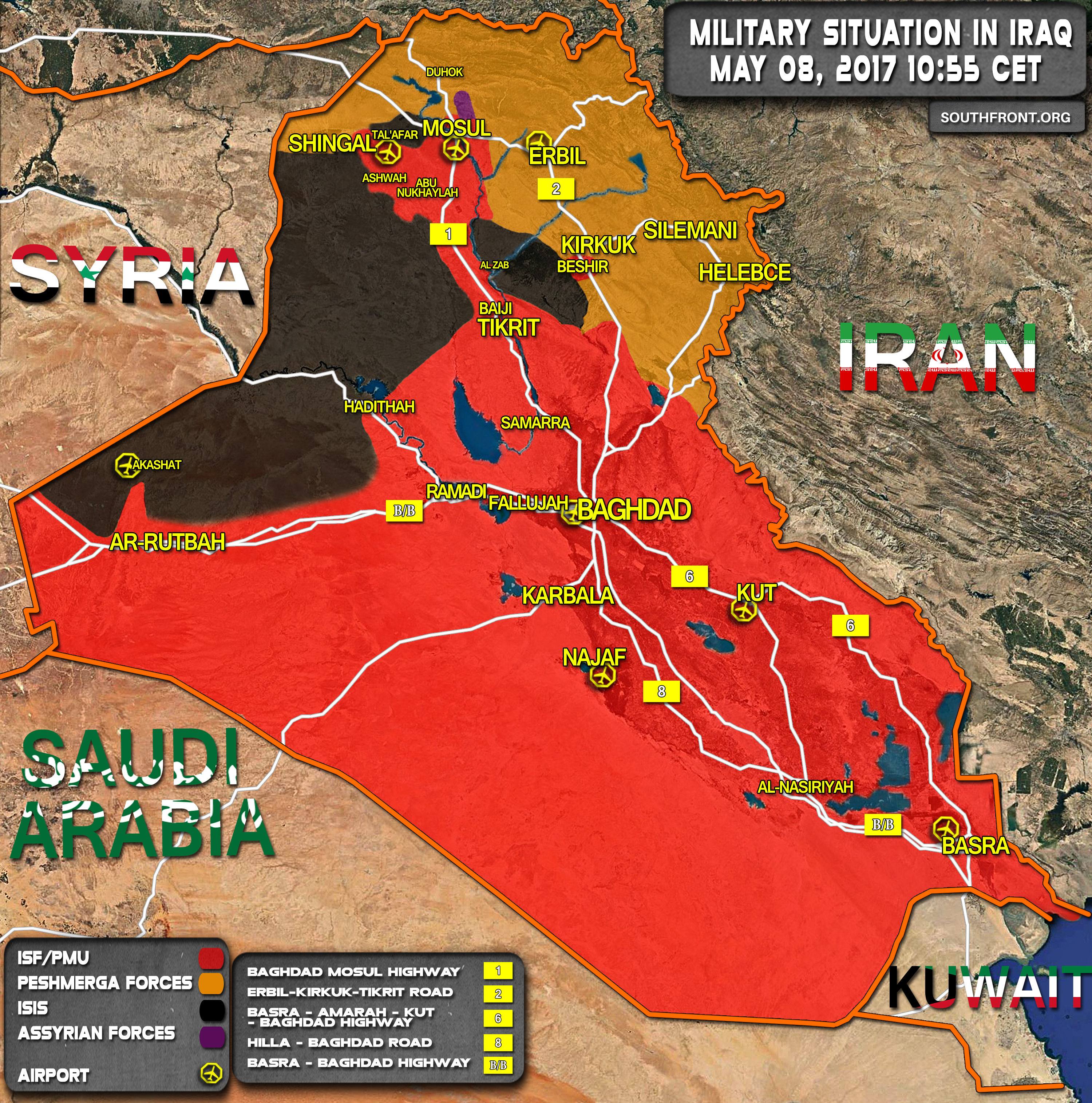 Military Situation In Iraq On May 8, 2017 (Map Update)