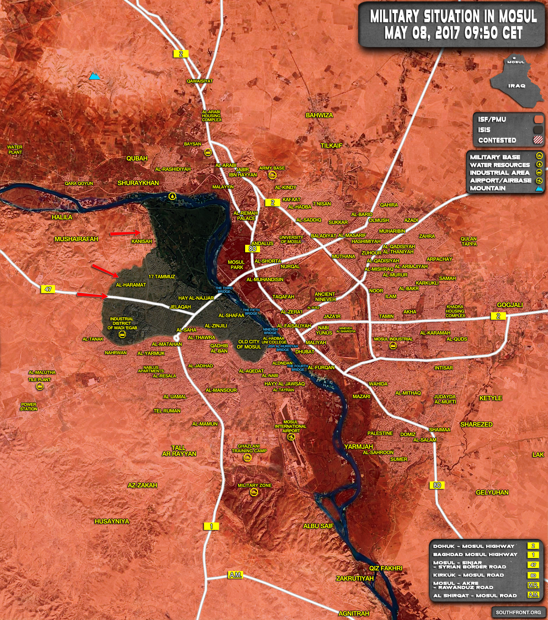 Military Situation In Iraqi City Of Mosul On May 8, 2017 (Map Update)