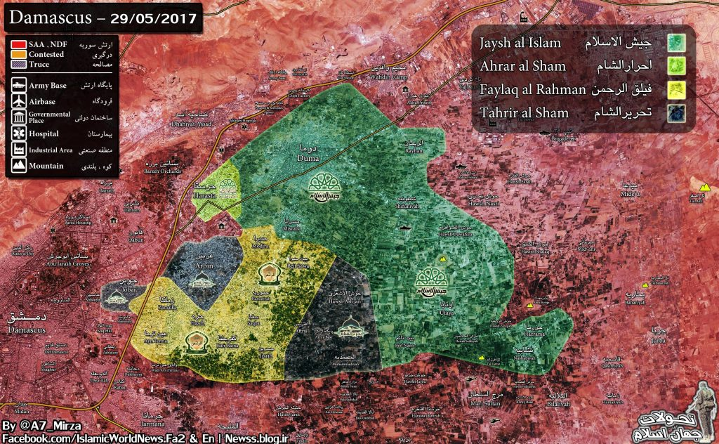 Map: Militant Infighting In Eastern Ghouta