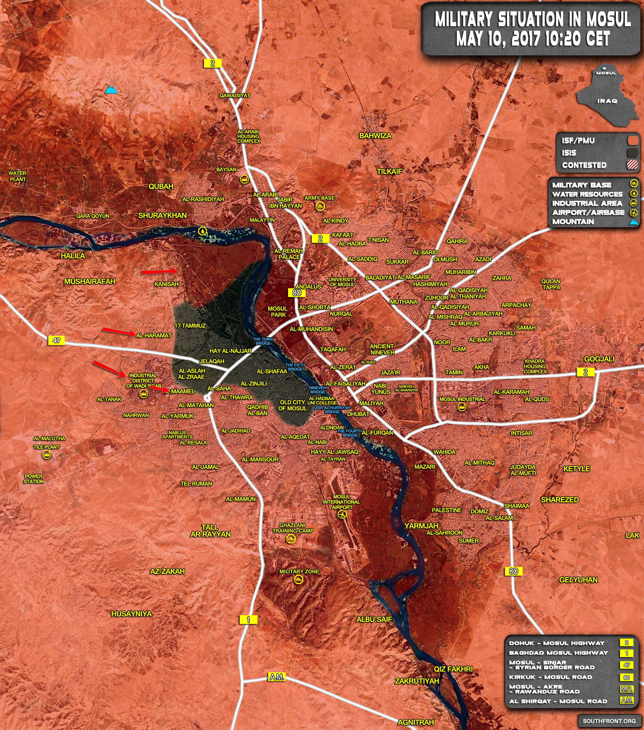 Military Situation In Iraqi City Of Mosul On May 10, 2017 (Map Update)