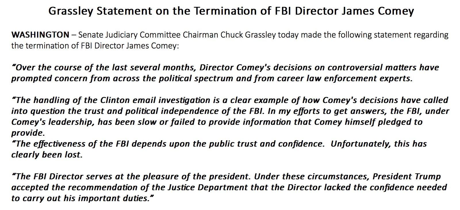 President Trump Fires FBI Director James Comey