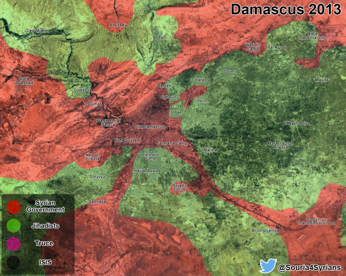 Maps Showing How Situation Changed In Damascus Countryside From 2013 To 2017