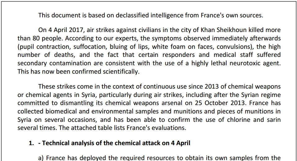 Flawed Chemical Analysis in the French Intelligence Report Alleging a Syrian Government Sarin Nerve Agent Attack in Khan Sheikhoun
